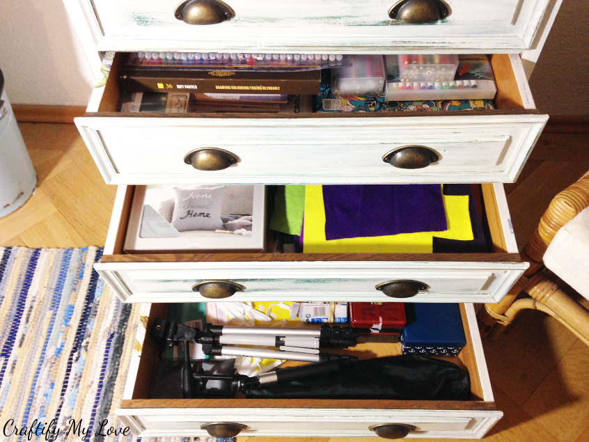 reorganised drawers craft supplies photography diy chest of drawers craft room organization
