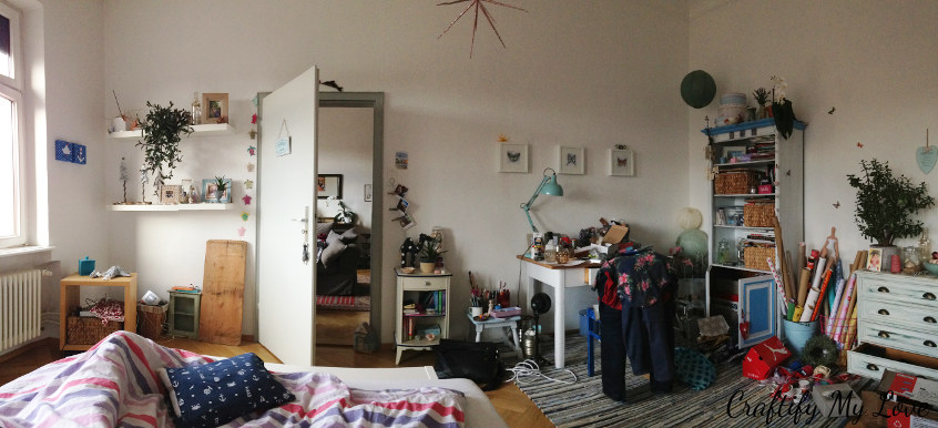 This is what I wake up to every morning. A messy craft space in my bedroom.