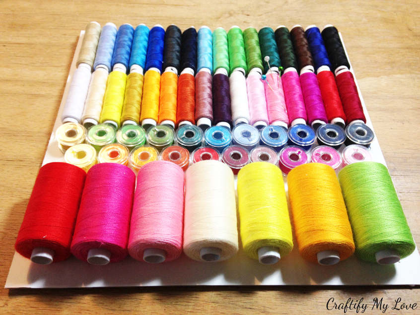 rainbow thread spools DIY project sewing room decor