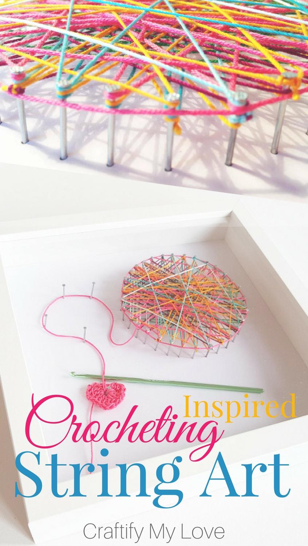 Crocheting inspired string art. Click for easy step by step tutorial   #stringart #crochetlovers #lovetocrochet #iheartcrochet #wallart #craftroomdecor #shadowbox #crochetinginspired