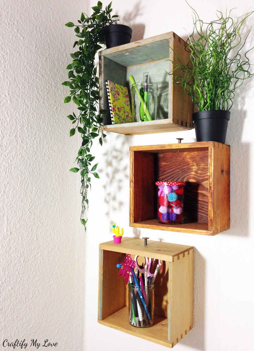 Rustic DIY project: recycling old drawers into shelving unit