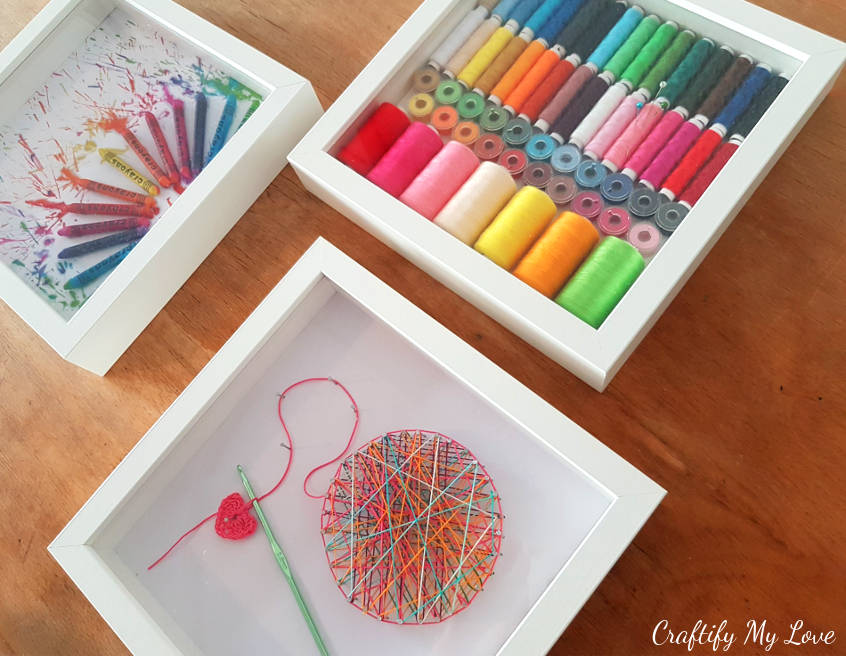 craft room wall art decor string art melted crayon thread box