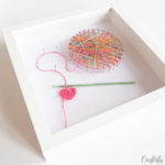 crocheting inspired themed string art in shadow box frame IKEA ribba
