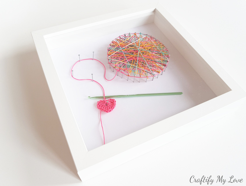crocheting inspired themed string art in shadow box frame IKEA ribba ...
