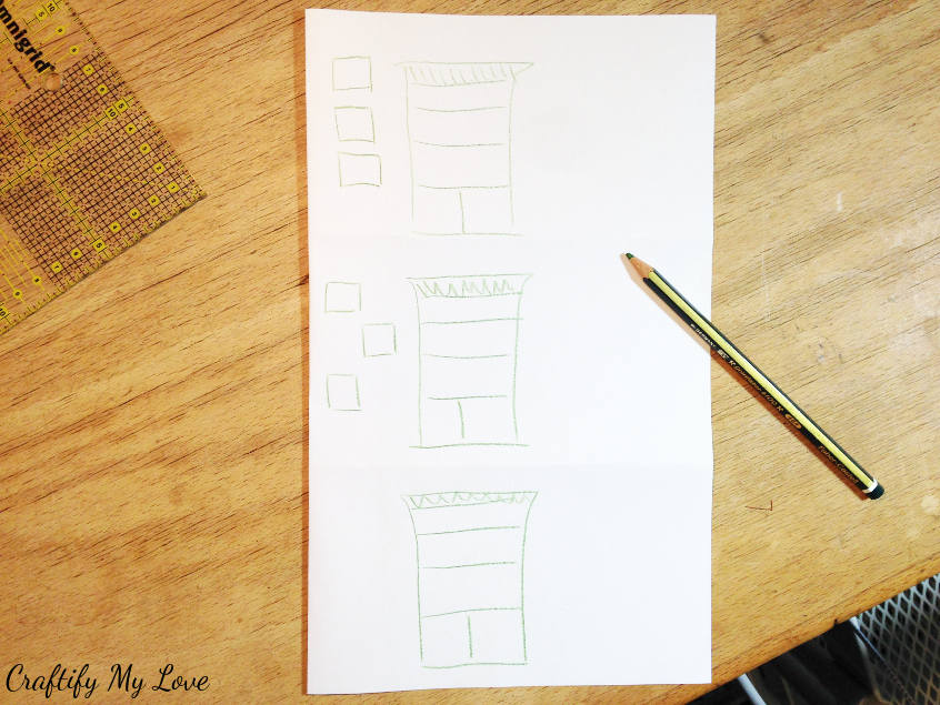 planning the shelve design by making a sketch of the order of recycled drawers shelving unit