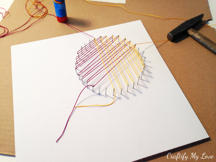 how to colour change when working on a string art diy project