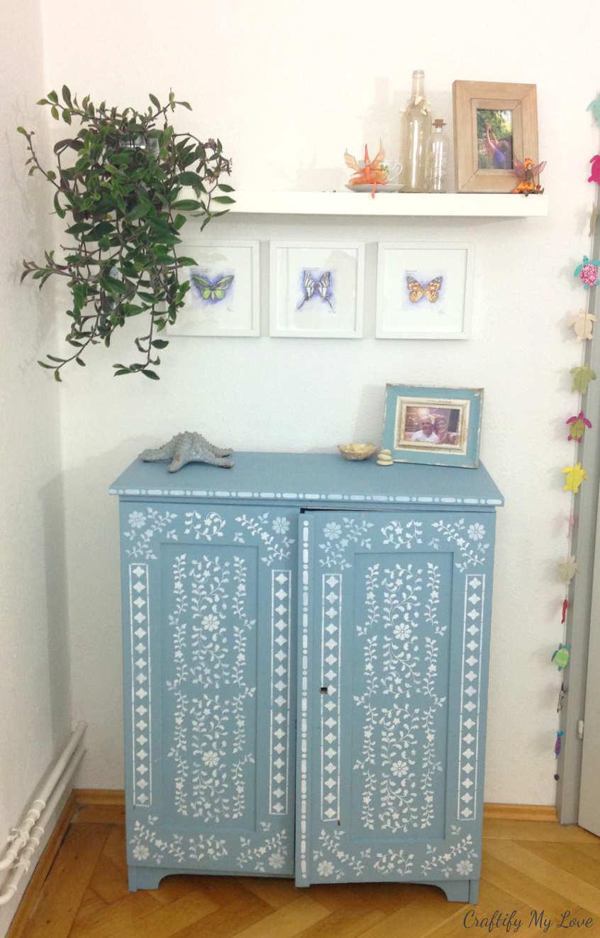 romantic decor craft room storage solution stencilled cabinet