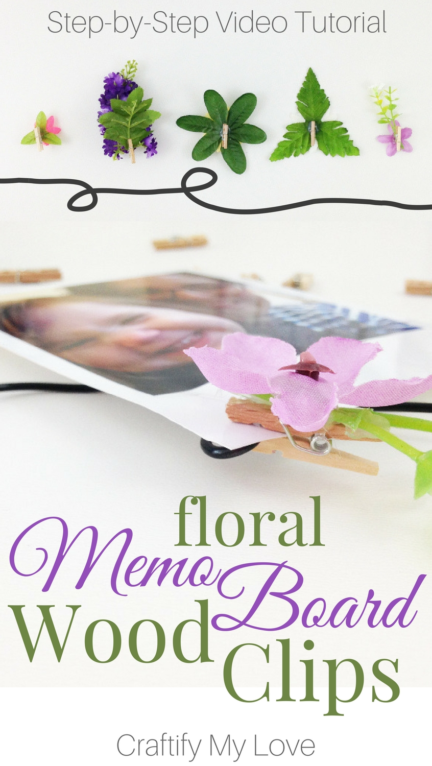 I just made these amazing floral memo board wood clips in less than 10 minutes. They make the pictures on my photo board even more decorative. Click for tutorial. | #simplecrafts #homedecor #pinboard #letterboard #fotoboard #woodenpegs #giftwrappingideas