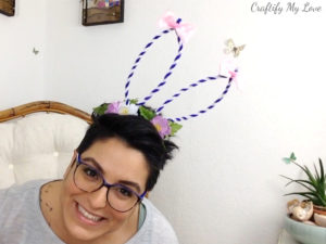 Adults and children can be wearing this cute bouncy purple rose bunny ears headband