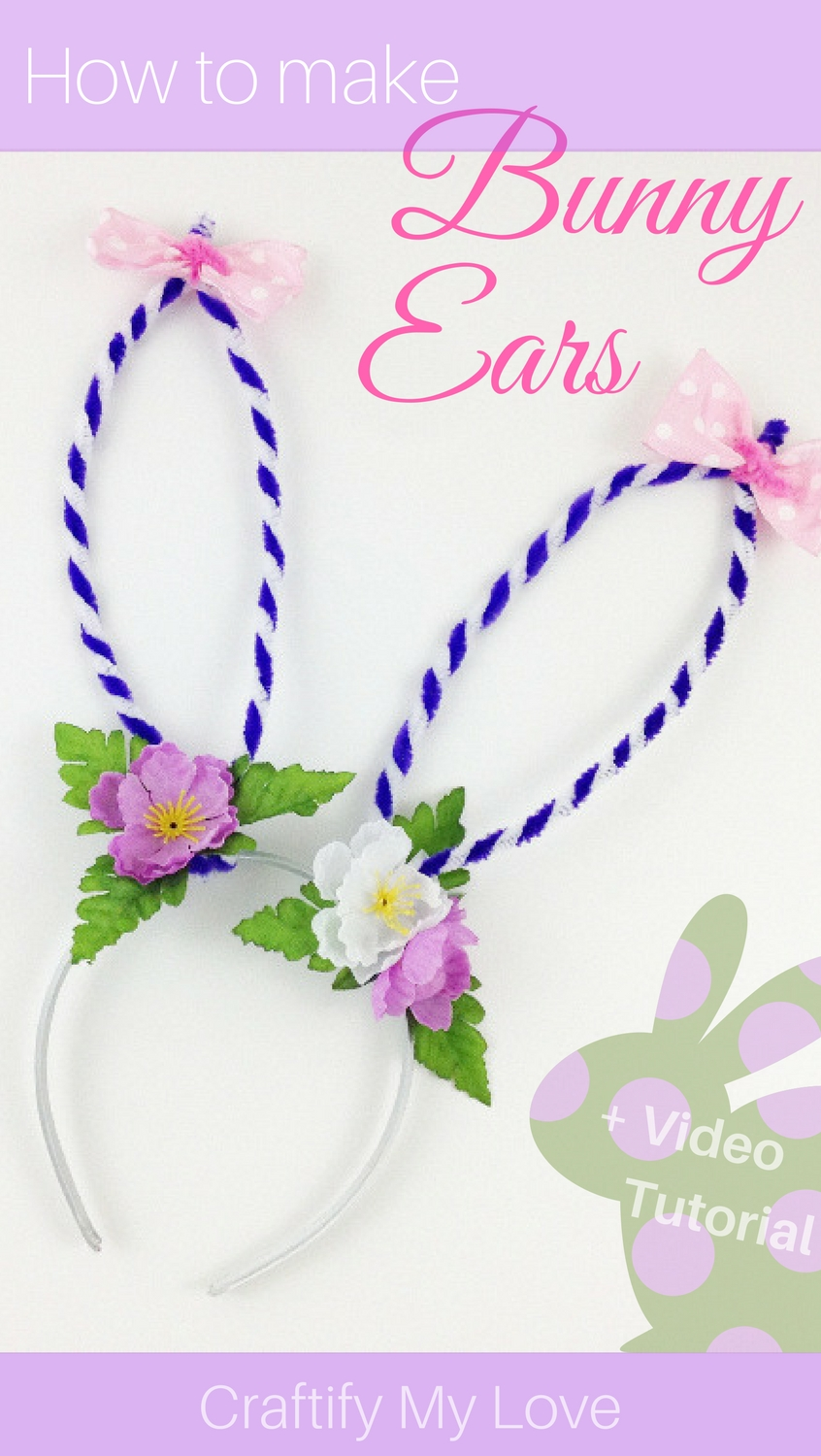 Hot to make a wearable bunny ears headband for your bunny costume. Click for an easy step-by-step tutorial including video directions | #bunnyears #costumeidea #halloween #spring #Easter #dressup #pipecleaner #kidscrafts #dollarstoreDIY