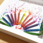 IKEA frame RIBBA shadow box crafts project melted crayons fireworks painting inspired