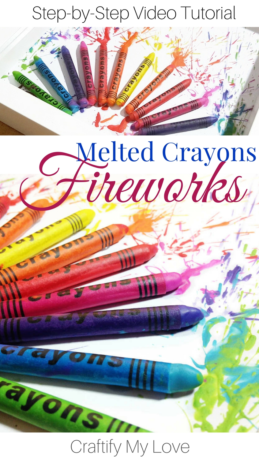 Learn how to make Melted Crayons Fireworks in IKEAS shadow frame RIBBA. Click for easy step-by-step instructions including video tutorial! | #meltedcrayons #kidscraft #summeractivities #shadowbox #fireworks #diy #homedecor #wallart