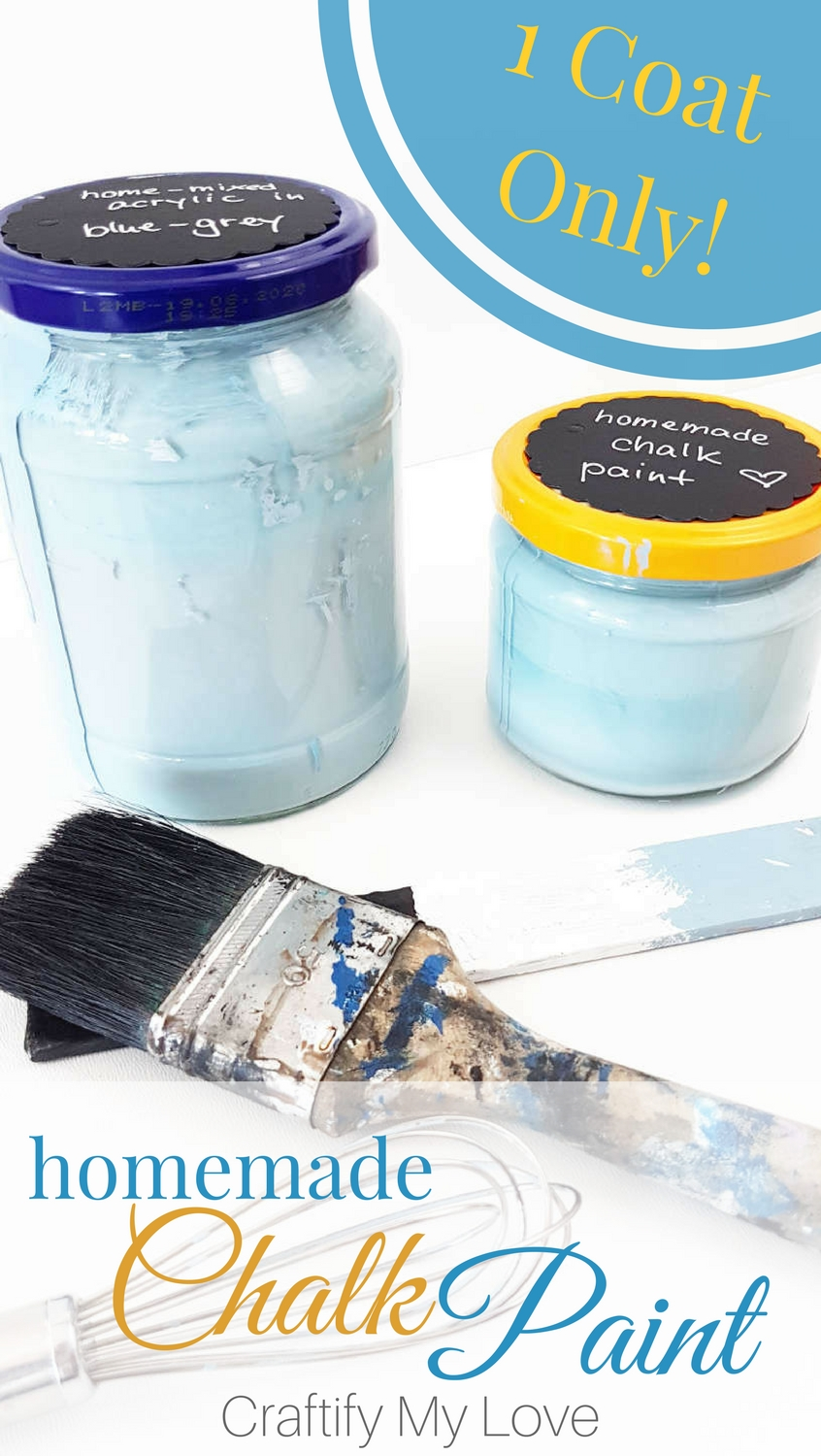 Learn how to make homemade Chalk Paint that has full coverage with one coat only! #chalkpaint #diychalkpaint #homemadechalkpaint #paint #diyfurniture