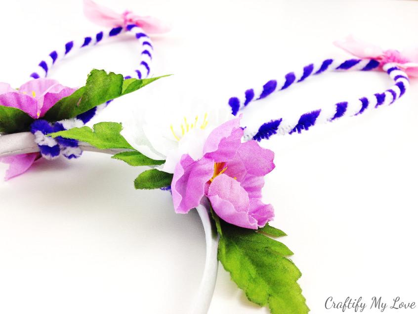 closeup bunny headband flower bouquet easter dress up for little girls or goofy adults