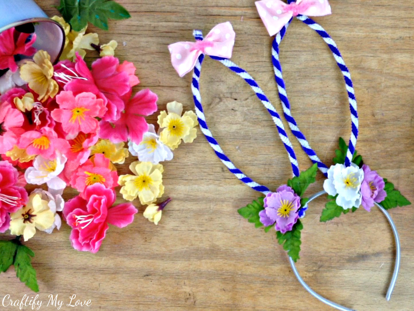 How to make a bunny ears headband craftify my love pick out silk flowers of your liking to decorate your bunny rabbit headband halloween costume or mightylinksfo