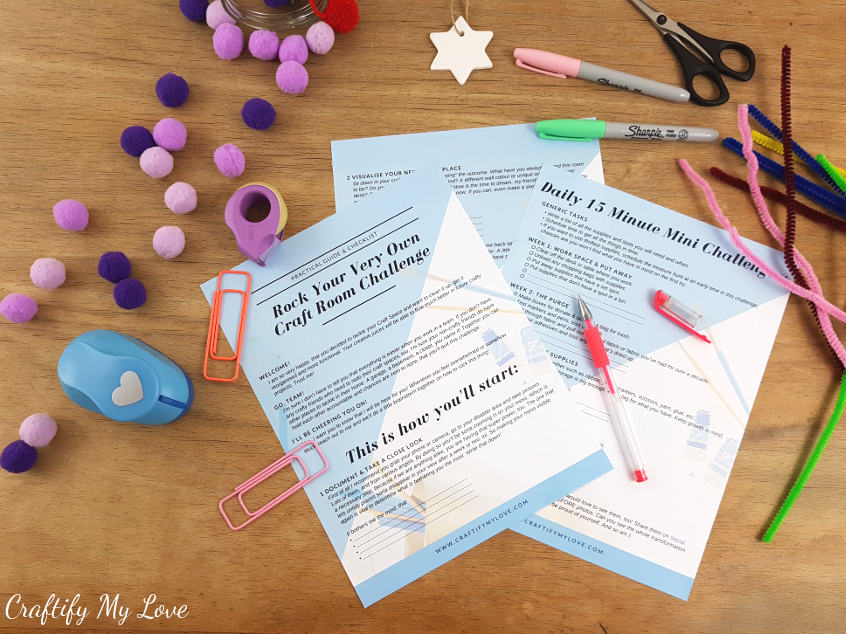Grab your free guide and checklist on how to reorganize your craft room in 4 weeks