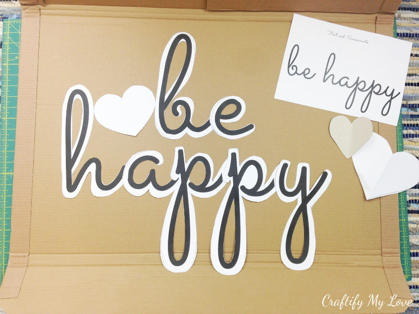 traced and cut out handmade stencil or pattern template be happy for a quote sign