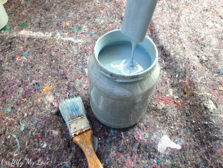 to create your own shade of blue you'll mix grey, white, and blue latex paint together