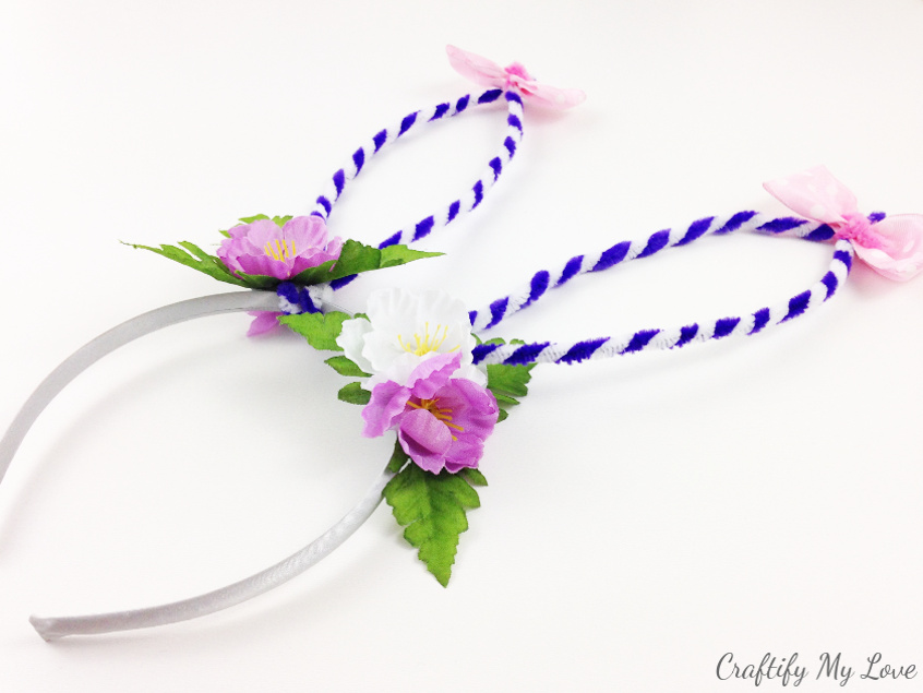 purple and white bounty bunny ears headband costume idea
