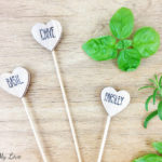Heart shaped DIY wooden plant herb markers for indoor or outdoor garden