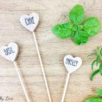 Heart shaped DIY wooden plant herb markers for indoor or outdoor garden