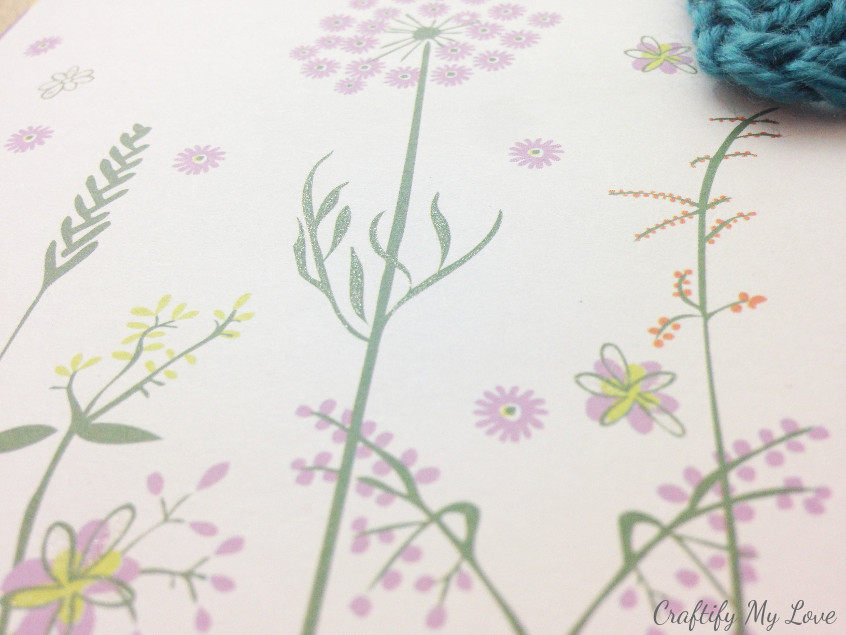using a glitter plan, adding some detail to handmade floral card