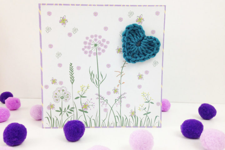 floral mixed media card with crocheted heart for Mother's Day