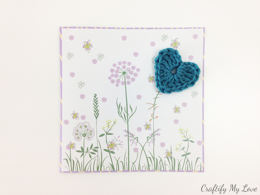 handmade Mother's Day card with flowers and a crocheted heart