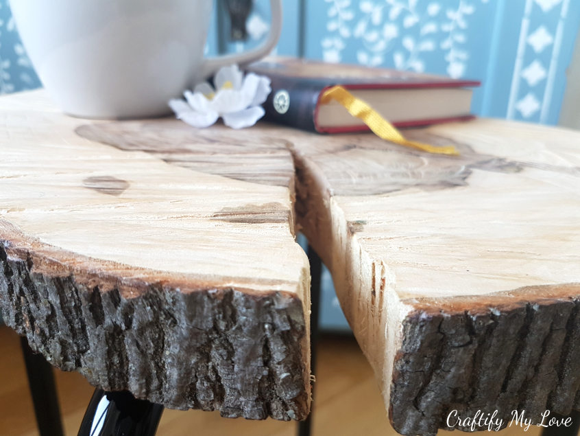 detailed tutorial DIY tree slice side table IKEA hack