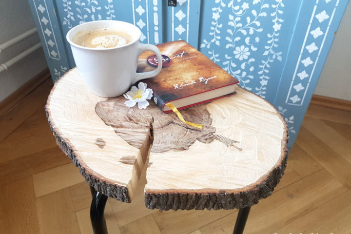 IKEA hack MARIUS stool turned into wood slice coffee side table
