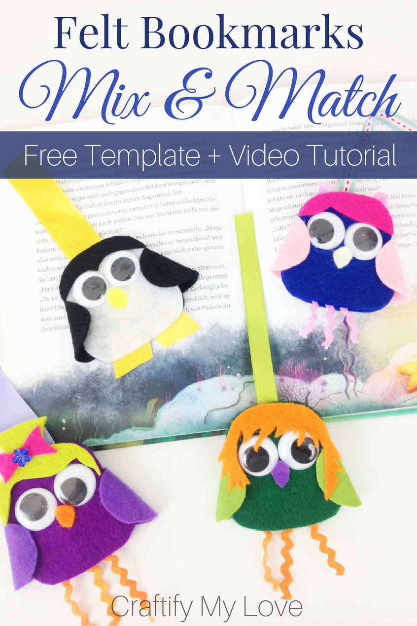 Remember this awesome kids craft for the next rainy summer day to entertain your kids! Fun mix&match felt bookmark idea including free template. #craftifymylove #freetemplate #mixandmatch #summerfunforarainyday #3dbookmark #giftidea #bookworm