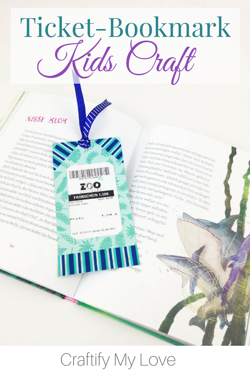 Making these ticket stubs bookmarks with our kids can be the perfect summer activity after a fun field trip! Working memories into usable objects is a great way to be grateful every day. #craftifymylove #papercrafts #bookmark #summerreading #summeractivity #memorabilia