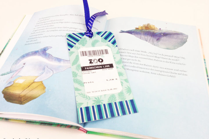 blue and turquoise admission ticket bookmark using scrapbook paper leftovers as a creative outlet for your kids this summer
