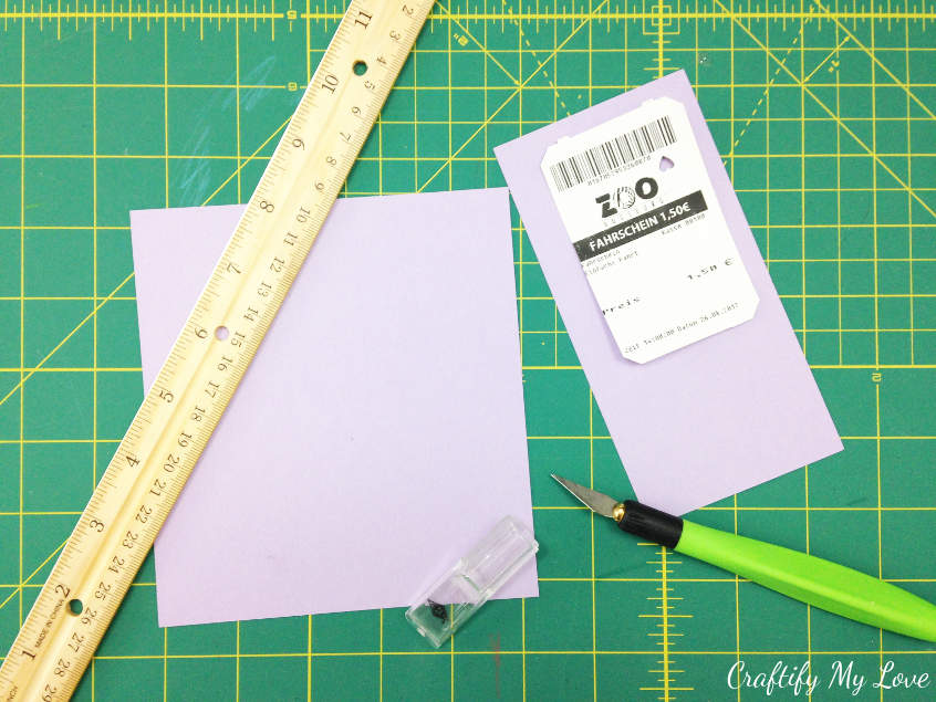 cut a piece of scrapbook paper to size as a base for your child's summer craft bookmark