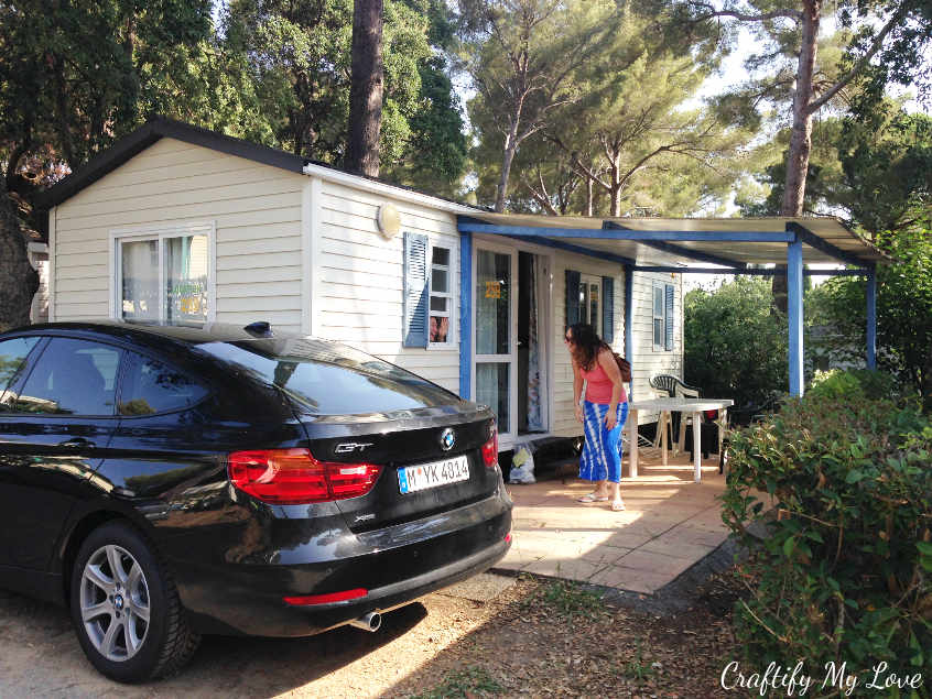 Our sweet rental car is parked in front of our cute mobile home on the campground in Cavalaire-sur-Mer