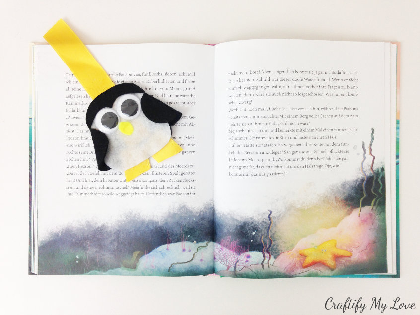 penguin kids craft felt bookmark mix & match rainy day summer fun activity