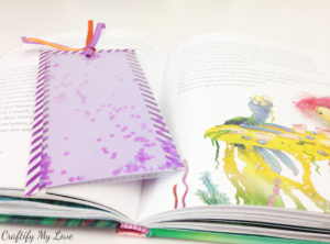 pink glitter shaker bookmark DIY tutorial for your kids to craft this summer