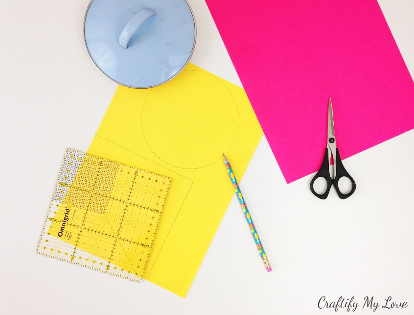 trace a circle and square on your crafting paper using templates for this fun butterfly craft
