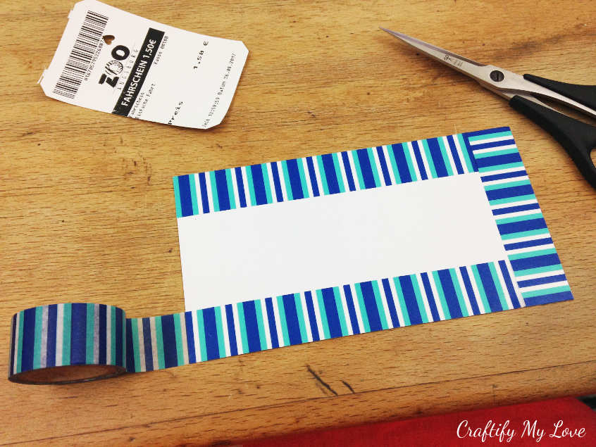 Using wash tape to decorate your summer excursion ticket turned bookmark