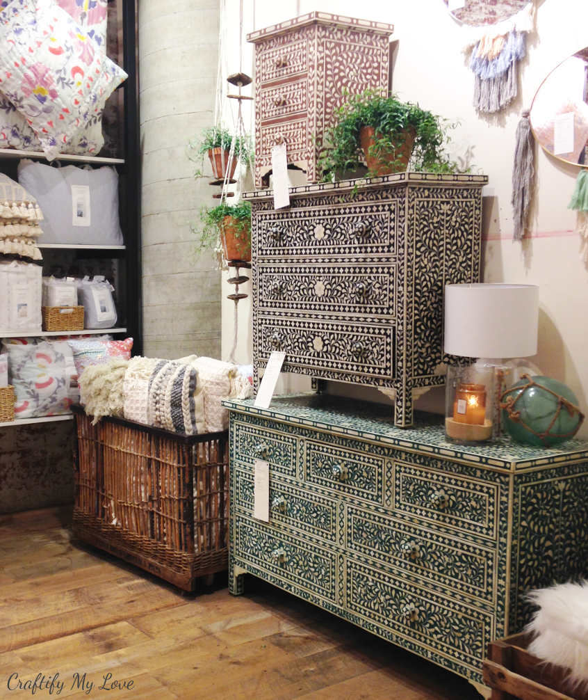 inspiration for bone inlay Anthropologie dresser knock-off or look alike stencilled furniture flip