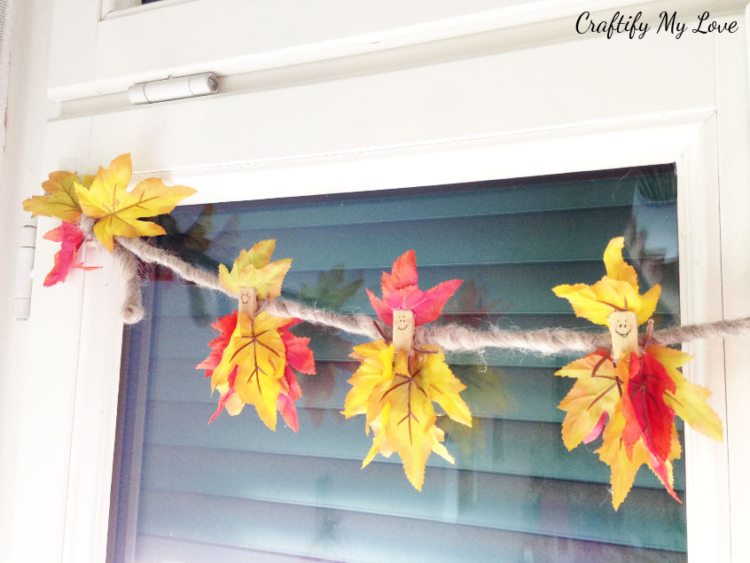 fall fairy mantel decor or autumn garland upcycling project