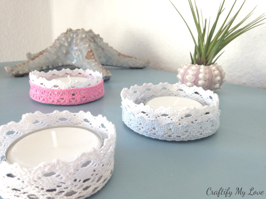 lacy romantic shape cheque DIY candle holders recycling project