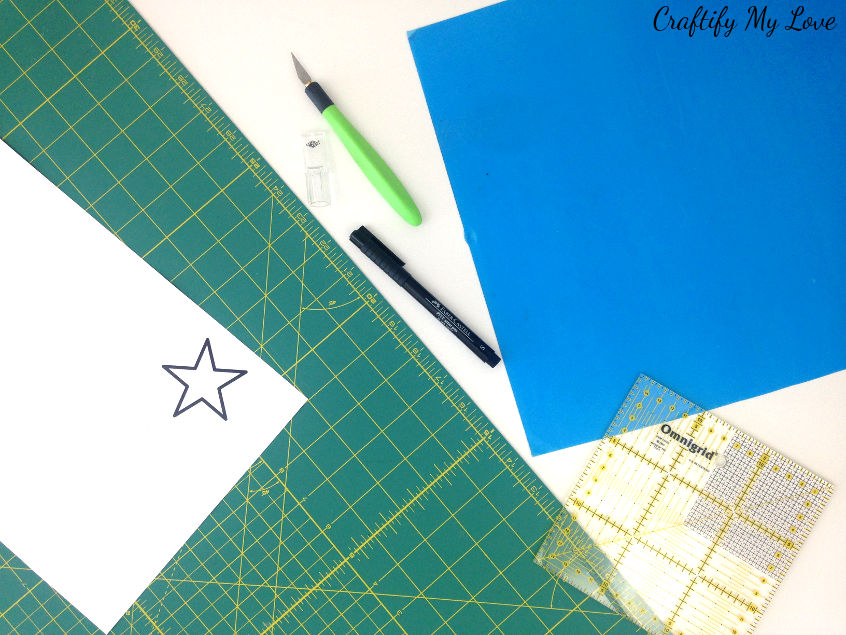 Supplies to DIY your own stencils using Mylar plastic sheets, carton or cardboard