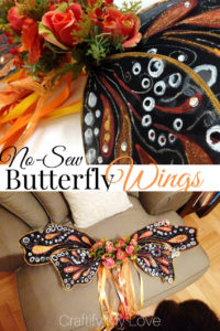 DIY now-sew monarch butterfly wings that can also be used for a fairy halloween costume. You can make them probably solely from things you have at home! Click for a detailed step by step tutorial. #craftifymylove #butterflywings #fairywings #DIYhalloweencostume #lastminute