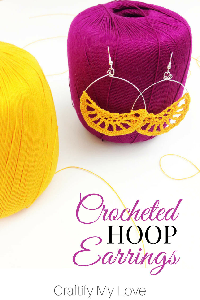 I never would have thought crocheting earrings is actually that simple! I found a great tutorial and whipped them up within the hour. I even made the hoop myself. Continue reading for all the details! #craftifymylove #crochetedearrings #diyjewellery #fallaccessories #bohoearrings #howtocrochet
