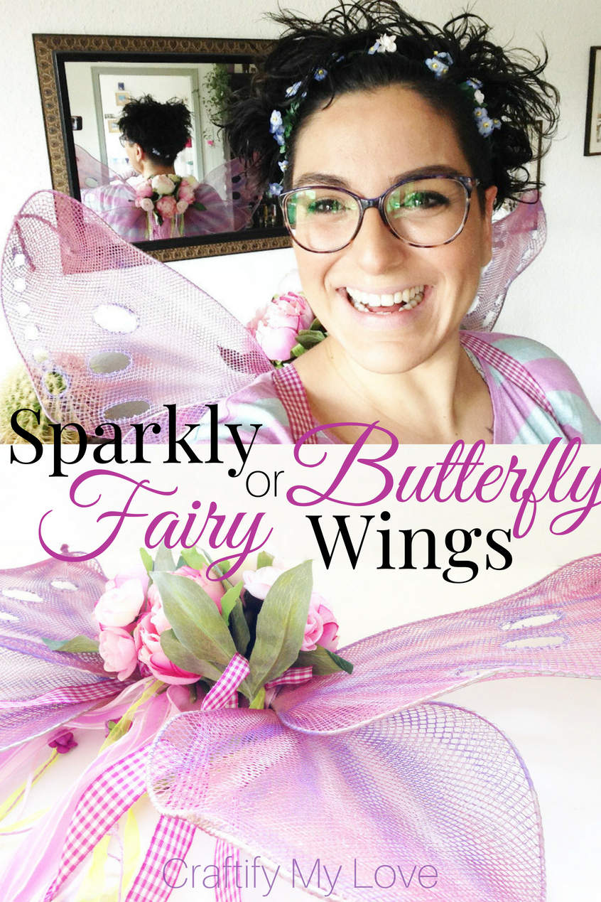 Sparkly DIY fairy or butterfly wings from fishnet stockings. Click to learn how to make this last minute costume from things you'll find at your home. #craftifymylove #upcycling #costumeidea #butterfly #fairy #halloween #dressup