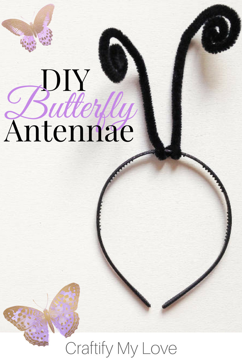 Super easy DIY butterfly antennae headband you absolutely need for Halloween. Wear it alone or DIY yourself a set of butterfly wings. Click for both tutorials! #craftifymylove #butterflyantennae #butterflycostume #microcostume #lastminutecostumeidea