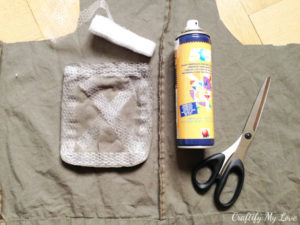 adding cargo pants pockets to upcycled costume shirt for butterfly catcher halloween costume