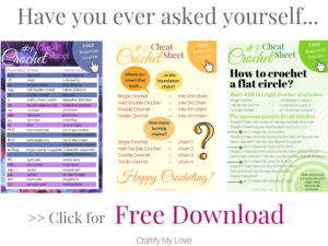 Set of three crochet cheat sheets for beginners and advanced crocheters