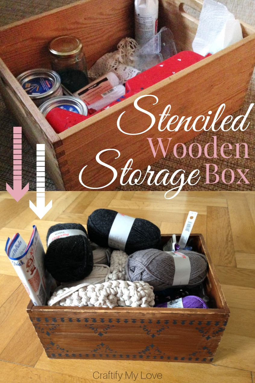 It is super easy to make this stained and stenciled wooden storage box. I use it for my crochet supplies but really it can hold anything you want. Read up how to transform any old box into beautiful storage space. #craftifymylove #stenciling #stain #DIY #storage #upcycling #homedecor #thrifted